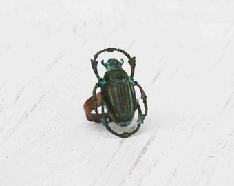 BEETLE Ring Nature Study Steam Punk Green INSECT Garden Bug Scarab Bug Jewelry