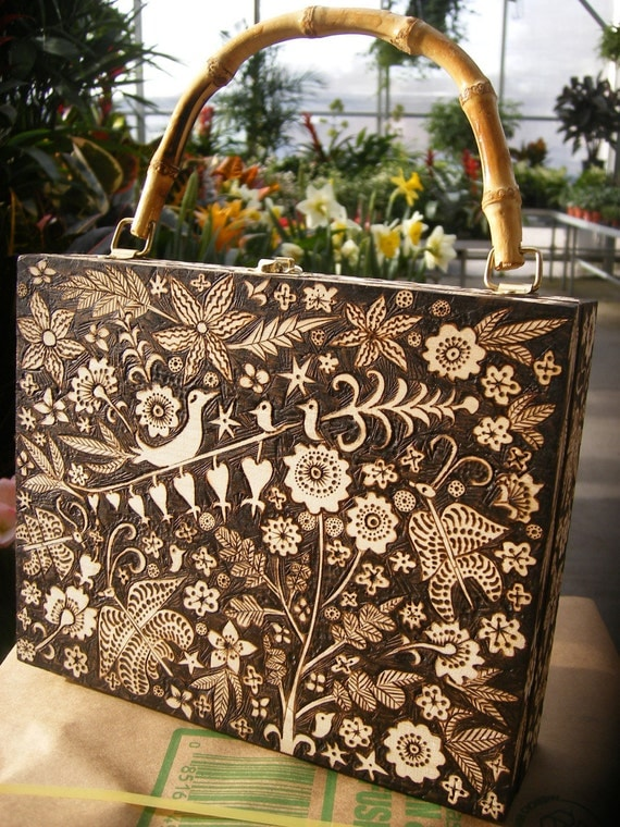 box purse-springtime night forest design, bird flower emblazoned wood with bamboo handle