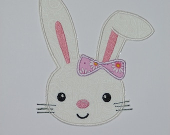 """Embroidered Iron On Applique-""""Floppy Ear Bunny"""" RTS"""