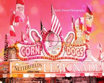 Carnival Prints, Lemonade Corn Dog Stand, Baby Girl Nursery Decor, Carnival Wall Art, Hot Pink Orange Carnival Prints, Kid's Room Decor
