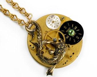 Brass Koi Fish n Pocket Watch Movement Collage Steampunk Necklace