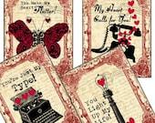 Steampunk Valentines Digital Collage Sheet Exchange Cards 3.5 x 4.5 - Set of 8 Tags greeting cards postcard ATC ACEO - U Print 300dpi jpg