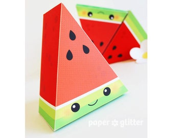 Watermelon Slice Paper Cake favor baking party box printables RED - Editable Text Printable PDF