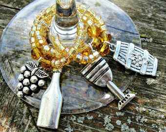 Vineyard Wine Charms - Champagne Beaded Wine Charm Set - Wine Party Set -Wine Jewelry