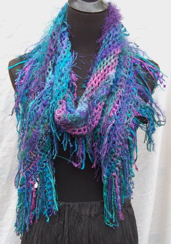 40% Off Sale Turquoise, Teal, Purple & Plum Diagonal Bias Striped Handmade Crochet Scarf