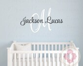 Monogram Wall Decal for Girl or Boy with Initial and Name - Baby Name Wall Decal in Small to Extra Large Sizes IN0051