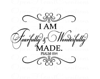 Baby Nursery Wall Decal - I am Fearfully and Wonderfully Made with Heart Accents 22H x 32W Ba0364