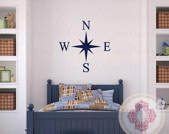 Compass Wall Decal - Small to Large Size Nautical Vinyl Wall Decal for Girl or Boy Nursery or Bedroom NW0048