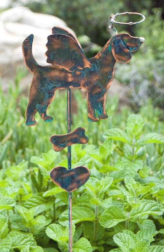 Beagle Angel Pet Memorial Planter Pot Stake Dog Garden Spike