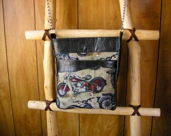 """Cross-body Motorcycle Tapestry  purse with Black Leather and a 47"""" long chain strap, 13.5"""" x 11.5"""" x 1.25"""""""