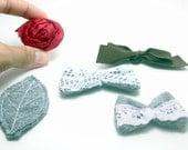 Supplies Destash Rosette Variety Felt Bows and a Leaf - prendasbyenid