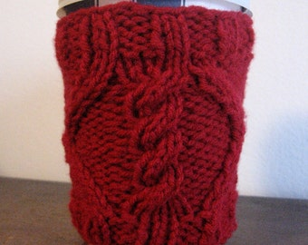 Cherry Red Knit Mug Cozy, Valentines Day, Cable in Diamond Knit Coffee Cup Cozy, Red Knit Coffee Sleeve