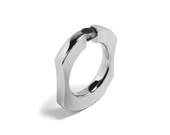 Mens Black Diamond Ring Tension Set Design Stainless Steel