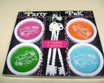 Vintage 8 Piece Set New Year Party Pak Coasters and Stirrers Original Box Unopened Bright Colors MCM Mad Men Bar Ware Cocktails Gessner 1974