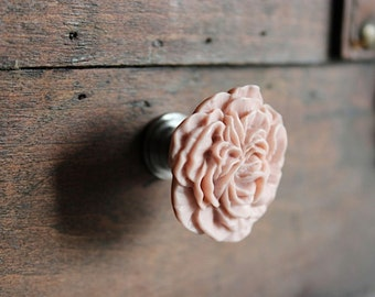 Flower drawer Knobs - Peony Cabinet Knobs in Hibiscus Pink (RFK02-02)