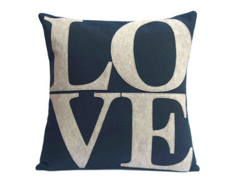 LOVE Throw Pillow Cover Appliquéd in Sandstone on Navy Blue Eco-Felt 18 inches