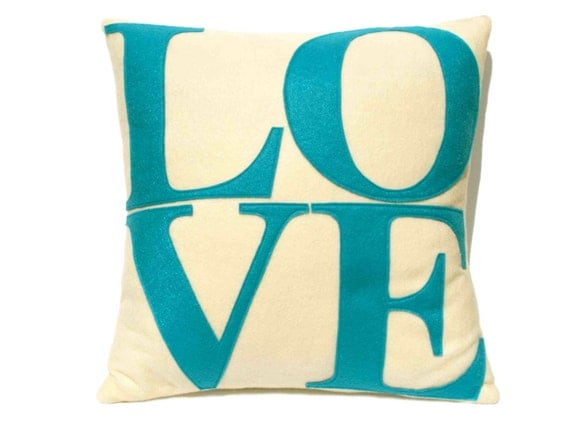 LOVE Throw Pillow Cover Appliquéd in Aqua Turquoise on Antique White eco-felt 18 inches