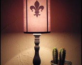 Evil Flowers Fleur de Lis light pink lampshade lamp shade - lighting, table lamp, shabby chic decor, french, pink lamp shade, poem, gothic