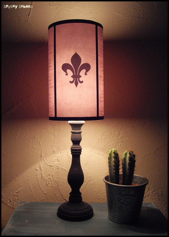 evil flowers fleur de lys light pink lampshade lamp shade. Black Bedroom Furniture Sets. Home Design Ideas