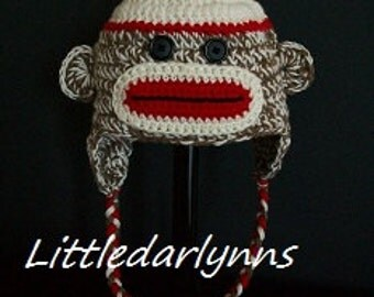 Sock Monkey Hat Crochet Sock Monkey Hat Baby Sock Monkey Brown Monkey Hat Beanie Halloween Hat Costume Baby Photo Prop Baby Shower Gift