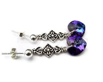 Sterling Silver Swarovski Heliotrope Heart Earrings Purple Heart Earrings