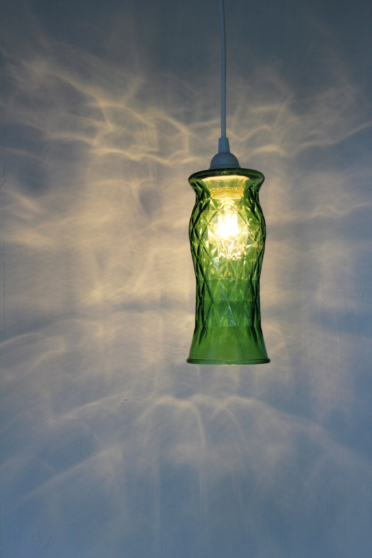 Green Diamonds Hanging Pendant Lighting Fixture Upcycled