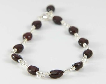 January Birthstone Bracelet- Smooth Oval Garnet Gemstones- Red Garnet Bracelet- Root Chakra- Dainty Stacking Bracelet- Sterling Silver