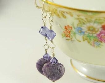 Valentine Earrings- Lepidolite Gemstone Earrings, Purple Heart Earrings, Sterling Silver, Purple Lepidolite Chakra Jewelry