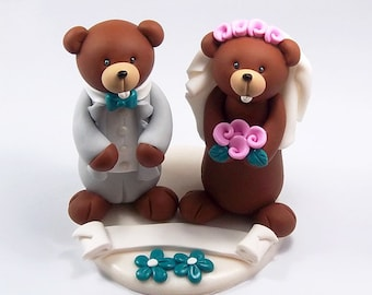 Gopher Wedding, Wedding Cake Topper, Cute Cake Topper, Bride and Groom