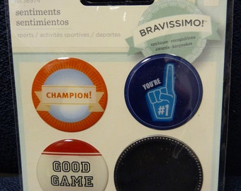 Just Reduced! Great New Bravissimo Embellishment - 3 Sentiments & Brass Medallion - Sports - from Making Memories - FREE SHIPPING