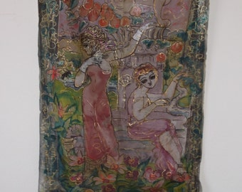 hand painted pink and green silk curtain 75 x 33,5 inches.