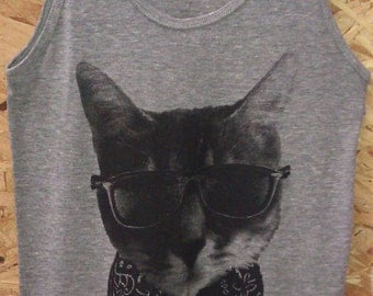 The Bandit Kitty Cat Tri-Blend Tank Top American Apparel Gray Men's (Unisex)      XS S M L or XL
