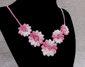 Crocheted Pink Flower Necklace