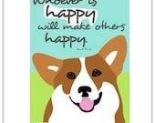 Welsh Corgi Dog Art Print Anne Frank Quote Matted
