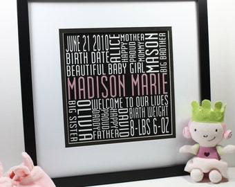 Third Baby Square Typography Print Custom Birth Announcement Modern Word Art Subway Art
