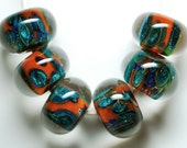 Moroccan handmade lampwork glass beads set boro Moroccan rust sparkle beads boro lampwork