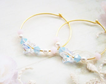 Starry swarovski crystals gold ear hoops, teenage daughters, youths, young ladies, for wife, bridemaid earrings, nickel free