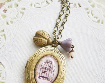 Vintage style whimsical spring bird in the cage cameo purple czech brass locket, for wife, young ladies, teenage daughter
