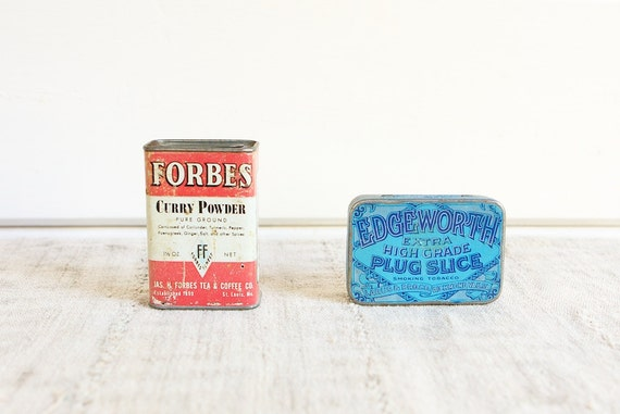 CLEARANCE Collectible Antique Tins, Forbes Curry Powder and EdgeworthTobacco