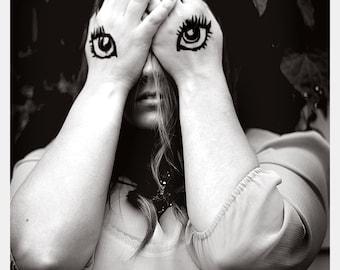 Black and White Portrait Fine Art Print Creepy Weird Eyes Mask Woman Home Apartment Decor Wholesale