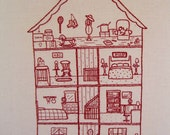 1109 Poplar, house cross section hand embroidery pattern, needlework, dollhouse