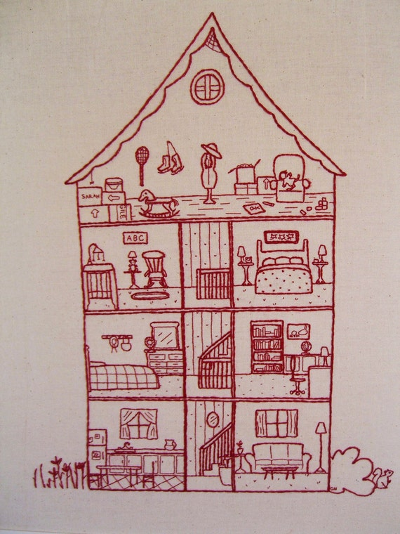 1109 Poplar, house cross section hand embroidery pattern, needlework, dollhouse