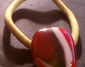 Pony tail holder, hair accessory, hair accessory dichroic glass pony tail holder, hair accessories, wearable glass art, red, orange, white