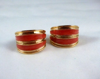 Vintage Golden, Orange Striped ClipOns : C13
