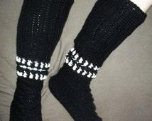 Studdish Boots Crochet Slipper Boots Pattern Stud Warm knee high socks rock punk style shoes for winter cozy double strand PDF