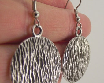 Textured Round Silver Earrings, Round Pewter Earrings