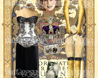Vintage Art Paper Doll Collage Sheet 'Queen Elizabeth II & her Corgi's' digital download