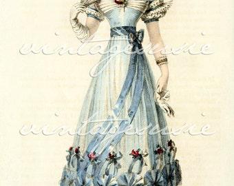 ACKERMANN Regency Fashion Plate Print COLLAGE SHEET 1826 Print 28 Digital Download Jane Austen