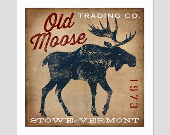 Custom Personalized OLD MOOSE Trading Co. giclee print SIGNED