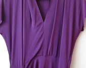 Vintage 1940s Royal Purple Rayon Full Length Draped Gown Dress Size Small 40s